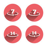 Return of goods within seven or fourteen days. Return of goods within 7 or 14 days icons. Warranty 2 weeks exchange symbols. Pink circles flat buttons with Stock Image