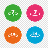 Return of goods within seven or fourteen days. Return of goods within 7 or 14 days icons. Warranty 2 weeks exchange symbols. Round buttons on transparent stock illustration