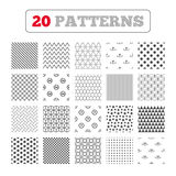 Return of goods within seven or fourteen days. Ornament patterns, diagonal stripes and stars. Return of goods within 7 or 14 days icons. Warranty 2 weeks Royalty Free Stock Images