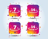 Return of goods within seven or fourteen days. Return of goods within 7 or 14 days icons. Warranty 2 weeks exchange symbols. Colour gradient square buttons Royalty Free Stock Image