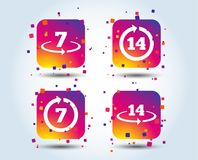 Return of goods within seven or fourteen days. Return of goods within 7 or 14 days icons. Warranty 2 weeks exchange symbols. Colour gradient square buttons stock illustration