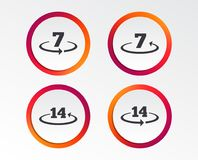 Return of goods within seven or fourteen days. Return of goods within 7 or 14 days icons. Warranty 2 weeks exchange symbols. Infographic design buttons. Circle Royalty Free Stock Photos