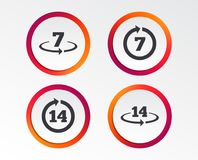 Return of goods within seven or fourteen days. Return of goods within 7 or 14 days icons. Warranty 2 weeks exchange symbols. Infographic design buttons. Circle Stock Images