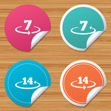 Return of goods within seven or fourteen days. Round stickers or website banners. Return of goods within 7 or 14 days icons. Warranty 2 weeks exchange symbols Royalty Free Stock Images