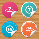 Return of goods within seven or fourteen days. Round stickers or website banners. Return of goods within 7 or 14 days icons. Warranty 2 weeks exchange symbols Royalty Free Stock Image