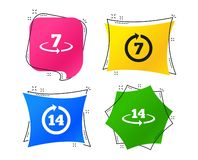 Return of goods within seven or fourteen days. Vector. Return of goods within 7 or 14 days icons. Warranty 2 weeks exchange symbols. Geometric colorful tags stock illustration