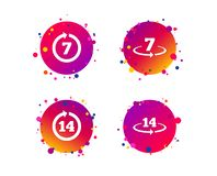 Return of goods within seven or fourteen days. Vector. Return of goods within 7 or 14 days icons. Warranty 2 weeks exchange symbols. Gradient circle buttons with royalty free illustration