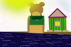 The return home. Bear returns from school.Illustration Stock Image
