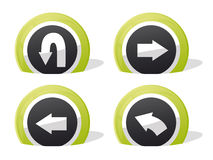 Return icons. Green return and arrow 3d icons royalty free illustration