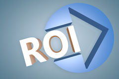 Return on Investment. Acronym 3d render illustration concept with a arrow in a circle on blue-grey background Stock Photo