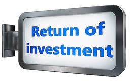Return of investment on billboard background. Return of investment wall light box billboard background , isolated on white Royalty Free Stock Images