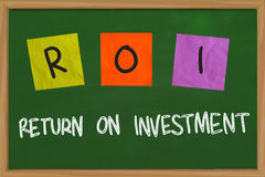 Return On Investment. Business concept of Return on Investment written on sticky colored paper Royalty Free Stock Photography