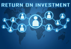 Return on Investment. Concept on blue background with world map and social icons Stock Photo