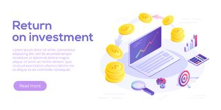 Return on investment concept vector illustration in isometric de. Sign. ROI business marketing background. Profit or financial income strategy web banner Stock Photo