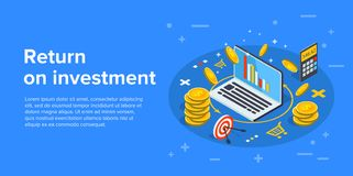 Return on investment concept vector illustration in isometric de. Sign. ROI business marketing background. Profit or financial income strategy web banner Stock Image
