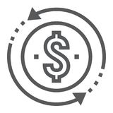 Return on investment line icon, development. And business, money back sign vector graphics, a linear pattern on a white background, eps 10 vector illustration
