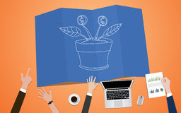 Return on investment plan concept illustration with team mange on blueprint with plant grow. Vector Royalty Free Stock Image