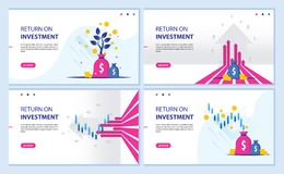 Return on investment, ROI chart and graph, Business, profit, and success. landing page banner illustration. Return on investment, ROI chart and graph, Business stock illustration