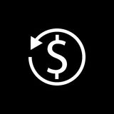 Return on investment solid icon. Seo and development, marketing sign, a filled pattern on a black background, eps 10 Stock Image