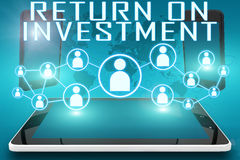 Return on Investment. Text illustration with social icons and tablet computer and mobile cellphones on cyan digital world map background Royalty Free Stock Images