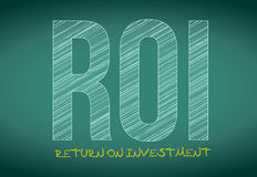 Return of investment written on a chalkboard. Roi return of investment written on a chalkboard. illustration design Royalty Free Stock Images