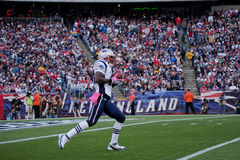 Return kick. New England Patriot returns kick at Gillette Stadium, the home of Super Bowl champs.  New England Patriots NFL Team play against Dallas Cowboys Stock Photo