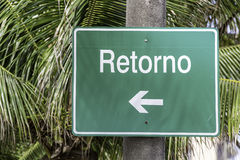 Return road sign Stock Photography