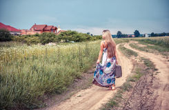Return of the rural girl to native place royalty free stock photo