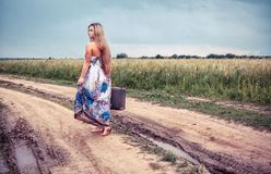 Return of the rural girl to native places Royalty Free Stock Images