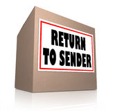 Return to Sender Cardboard Box Unwanted Package Royalty Free Stock Image