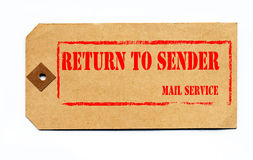 Return to sender. Grunge style on a 1930s tag. Return to sender rubber stamp design on a vintage 1930s parcel tag Royalty Free Stock Image