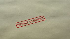 Return to Sender seal stamped on blank paper background, delivery failed