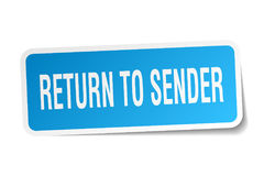 Return to sender square sticker. On white Stock Photo