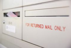 For returned mail only Royalty Free Stock Photography