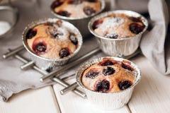 Returnera den gjorda körsbärsröda kakan med vanilj och florsocker Arkivfoto