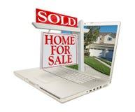 returnera nya det sålda försäljningstecknet för bärbar dator royaltyfri bild