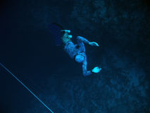 Returning from the depth of Blue Hole. Freediver returns from the deep dive into Blue Hole, Dahab, Egypt stock images