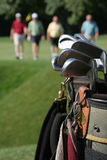 Returning Golfers and Golfbag. Set of golf clubs in bag with horizontal row of golfers returning from green, blurred in background. Vertical framing Royalty Free Stock Image
