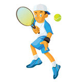 Returning a tennis ball. A tennis player hit the ball wear a hat , blue and white shirts Royalty Free Stock Image
