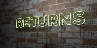 RETURNS - Glowing Neon Sign on stonework wall - 3D rendered royalty free stock illustration Royalty Free Stock Images