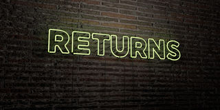 RETURNS -Realistic Neon Sign on Brick Wall background - 3D rendered royalty free stock image. Can be used for online banner ads and direct mailers vector illustration