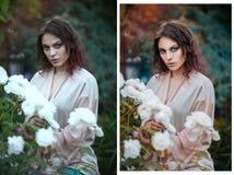 Retuschera före och efter skönhetbegreppet royaltyfri bild