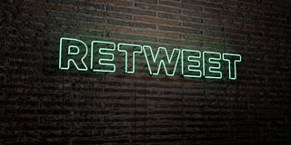 RETWEET -Realistic Neon Sign on Brick Wall background - 3D rendered royalty free stock image. Can be used for online banner ads and direct mailers royalty free illustration