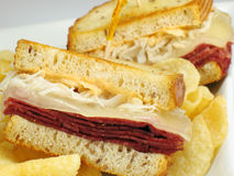 Reuben with Chips Royalty Free Stock Images