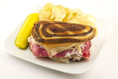 Reuben Chips Pickle Royalty Free Stock Photography