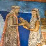 Reuben får vatten från väl, en romanesquevägg-målning Royaltyfria Foton