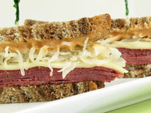 Reuben on Marble Rye Stock Photography