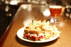 Reuben sandwich and a belgian beer Royalty Free Stock Photo
