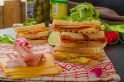 Reuben sandwich with cabbage, beef and spicy dressing Stock Image
