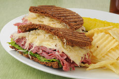 Reuben sandwich closeup Stock Images